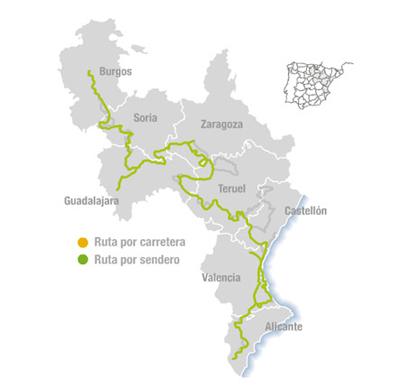 Mapa del Camino senderista