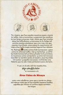 Imagen del diploma acreditativo del Camino del Cid