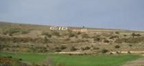 Imagen de la Tizona de Cubillo del Campo (Burgos) realizada con piedras de las canteras de la zona