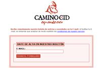 Imagen de la página en la que darse de alta para recibir el boletín de noticias del Camino del Cid
