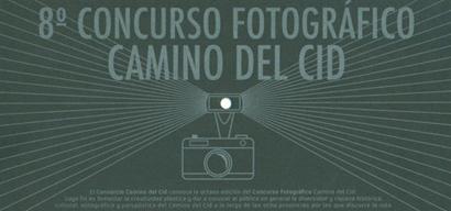 Tarjeta que recoge las bases del VIII Concurso Fotográfico Camino del Cid. Diseño de Asís G. Ayerbe