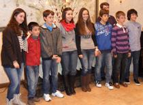 Imagen de los ganadores del certamen Microcantar 2012