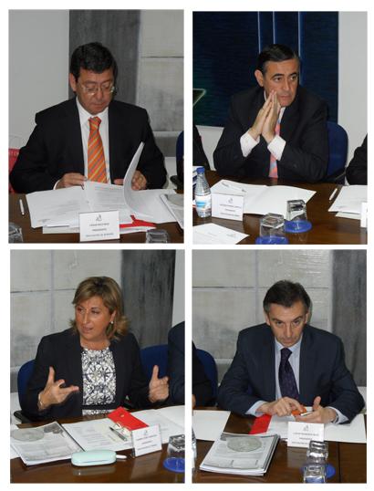 Los cuatro presidentes provinciales asistentes al encuentro. De izda. a dcha. y de arriba a abajo César Rico (Burgos), Antonio Pardo (Soria), Carmen Pobo (Teruel) y Luis Mª Beamonte (Zaragoza)
