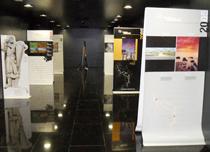 Paneles de la exposición fotográfica del Camino del Cid que, durante estos días, se exhibe en la Biblioteca Pública de Burgos