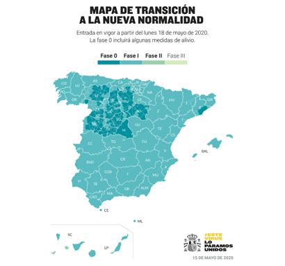 Mapa que recoge la situación en la que se encuentran las diversas provincias de España. Fuente: Ministerio de Sanidad